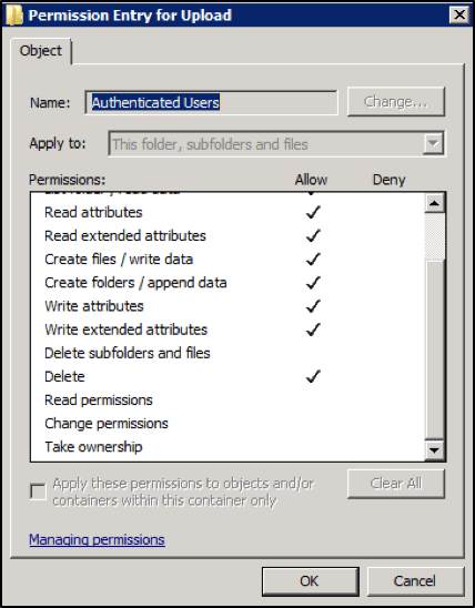 Screenshot of File Permissions for Authenticated Users of UPLOAD directory