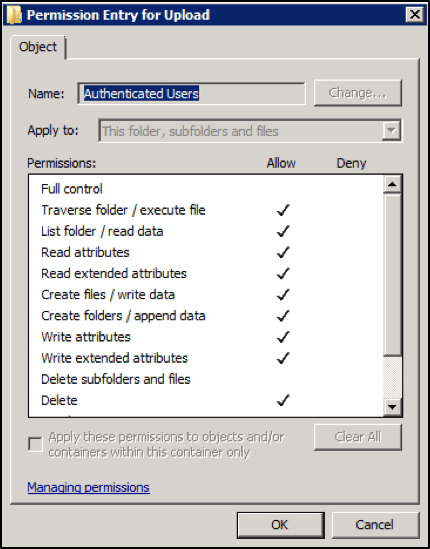 Screenshot 2 of File Permissions for Authenticated Users of UPLOAD directory