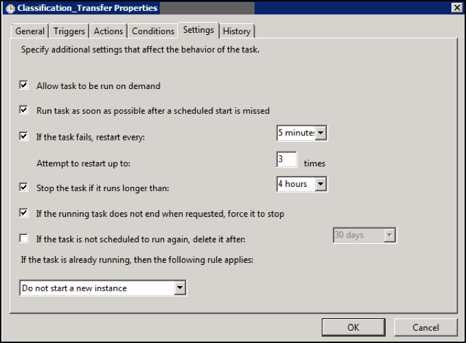 These are the suggested settings for the scheduled task