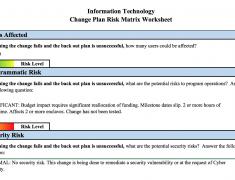 Change Plan Risk Matrix