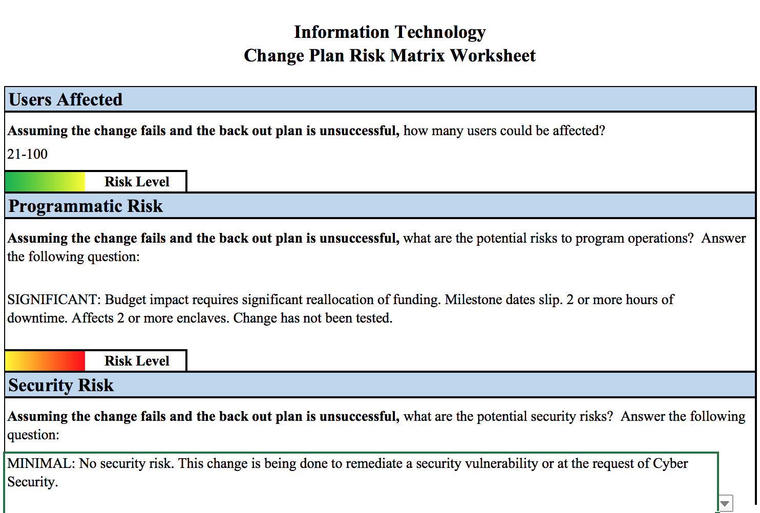 Making a RiskBased IT Change Management Process – Change Plan Worksheet