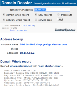 Screenshot showing lookup of IP using Domain Dossier